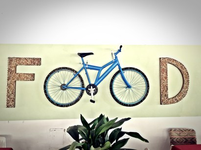 Food sign with a bicycle