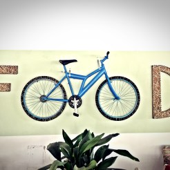 food sign and bicycle