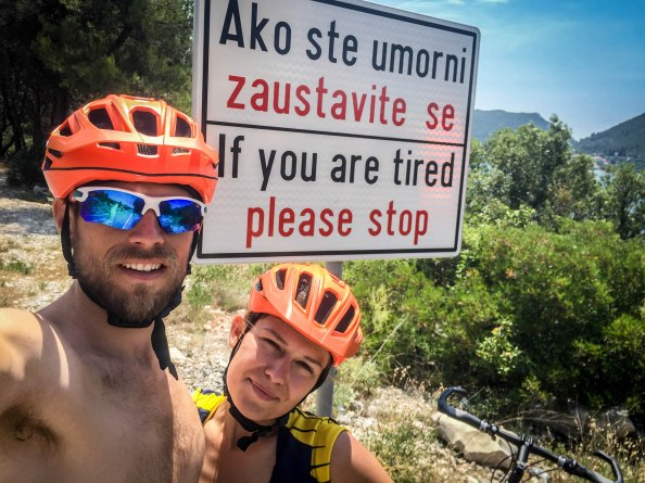 A male cyclist and a female cyclist in the Balkans