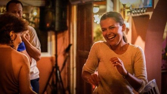 a happy women dancing