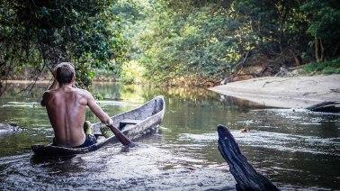 a man on a Guyanese kayak in Guyana