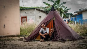 A man and a woman camping in Venezuela