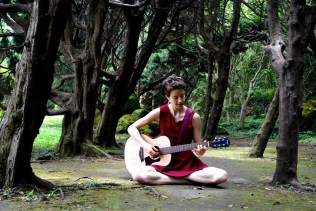 woman with red dress on the meadow playing guitar