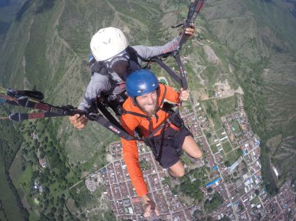 a paraglider in Roldanillo, Colombia
