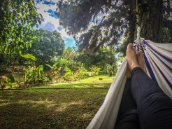 A womans feet in a hammock in the nature