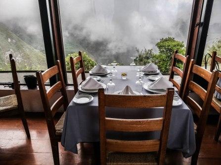 A set table in the restaurant El Mirador Del Crater