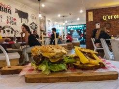 hamburger in a restaurant