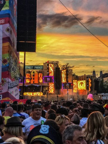 Sunset at the Streetparade in Switzerland