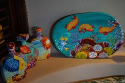 Wood pieces with sea world paintings on them
