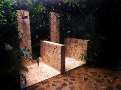 outdoor showers at the Dominican Treehouse Village