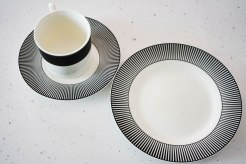 a plate and a cup on a saucer,black and white