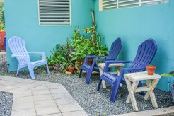 blue beach chairs at Casa Coral