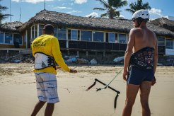 two man with kitesurfing equipment in the Dominican Republic