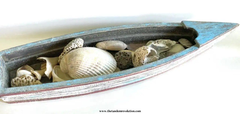 Various seashells placed in a blue, wooden, decorative boat.