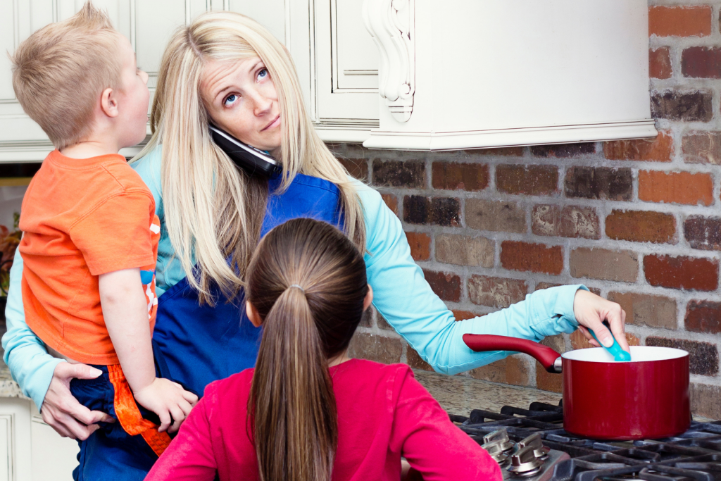Busy mom in need of time management tips for moms at home