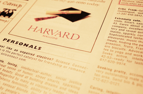 harvard sex personals Though many members of the class of 2018 abstained from sex and drugs before they got here, seniors' time at harvard was a time to explore.