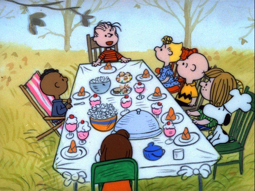 Image result for charlie brown thanksgiving table