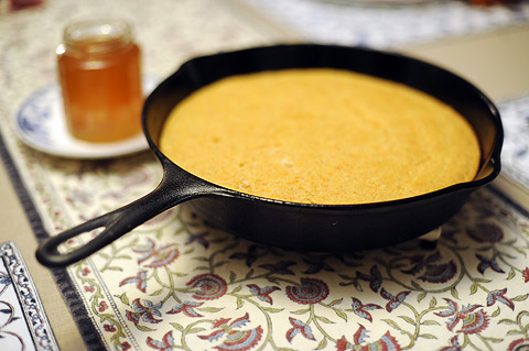 Simple buttermilk-cornbread accompanied last night's chili.