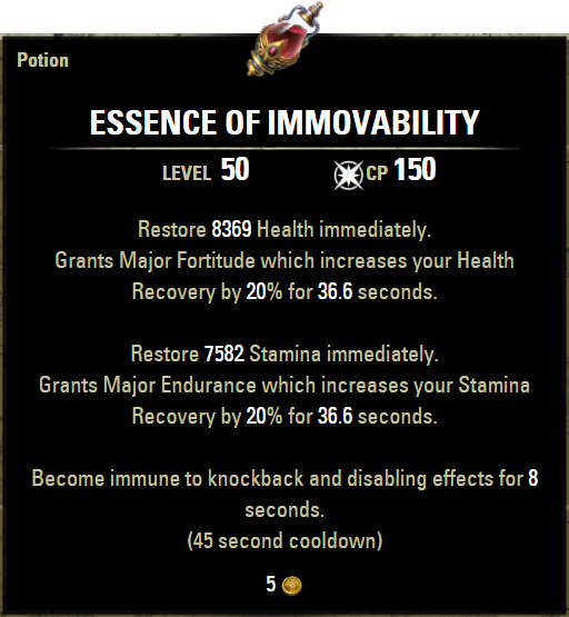 Immovability Potions