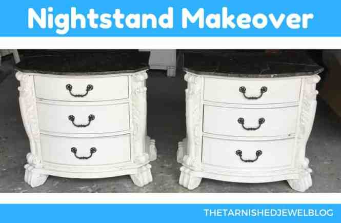 Give nightstands an instant makeover with paint, white bottom, black top, oil.-rubbed bronze hardware.