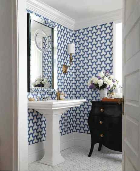Want to give a custom look to your powder bath? Add wallpaper to the entire room as an accent wall as a fresh update