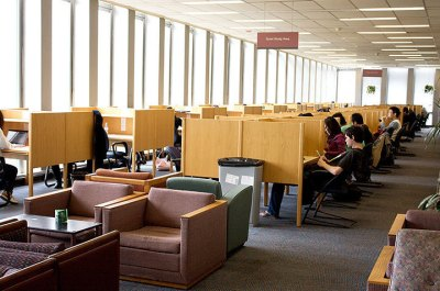 An image of the Mellon Library at CMU.