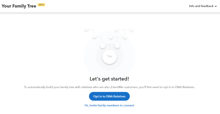 Screenshot of the Family Tree tool on 23andMe