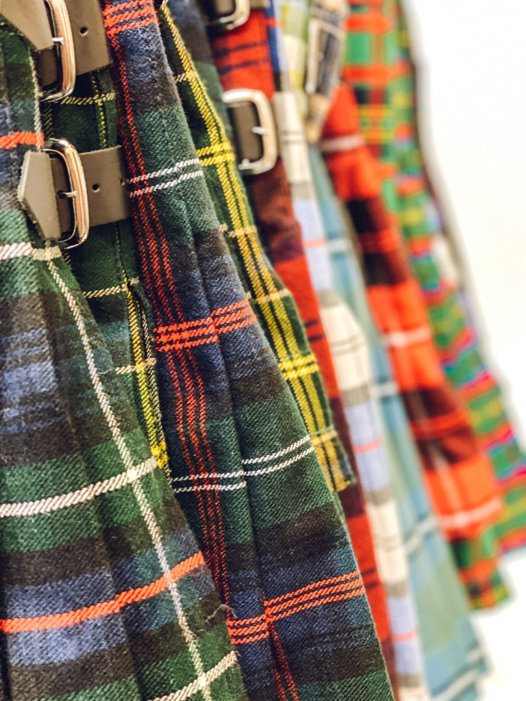 Acrylic kilts in different tartans and styles.