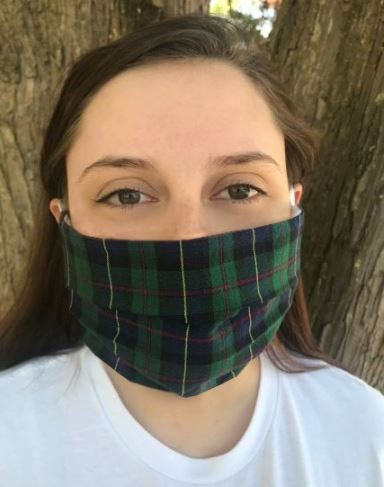 MacLeod of Harris tartan pleated double-layered washable 100% cotton face cover/mask