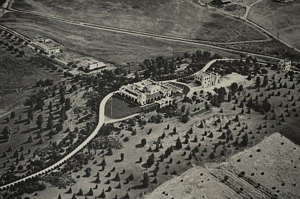 "This is a vintage arial photo of the estate in Tarzana that once belonged to Edgar Rice Burroughs, creator of the ""Tarzan"" books."