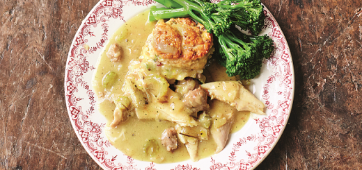 Turkey Stew, Sweet Leek & Smoky Bacon Biscuit Dumplings Recipe by Jamie Oliver