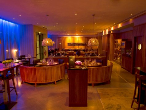 EAST Restaurant with full lights on