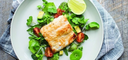 Neven miso glaze hake with avocado