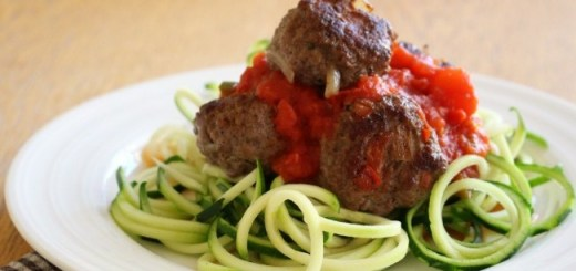 Wonky Spatula Courgetti and meatballs