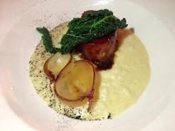 Pork Belly, Onion Risotto, Kale
