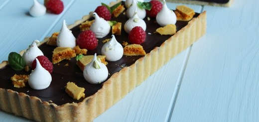 Dark Chocolate Tart with Honeycomb and Pistachio Meringues by Chef Shane Smith