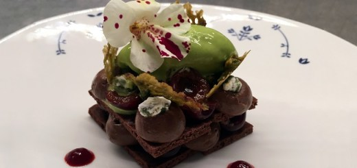Dark Chocolate Mousse with Black Cherries and Pistachio Ice Cream Recipe by Chef Aoife Noonan