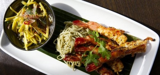 tiger prawns with green tea noodles