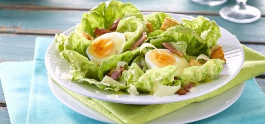 Caesar Salad with Soft Boiled Eggs and Bacon