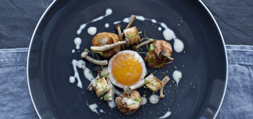 Pan-Fried Scallops with Fried Egg, Brioche, Mushrooms and Beurre Blanc Recipe by Peter Clifford