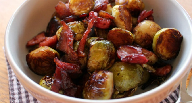 Balsamic and Bacon Baked Sprouts Recipe by The Wonky Spatula