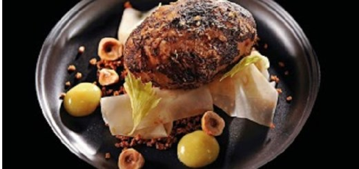 Celeriac baked in barley and fermented hay, hazelnut, raw celeriac juice, smoked tea by Chef Mark Moriarty