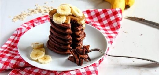 Chocolate Banana Protein Pancakes Recipe with PB