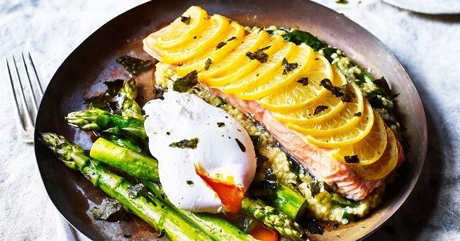 Baked Salmon with Crispy Seaweed, Poached Egg and Asparagus Recipe from the Mindful Chef