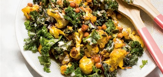 Cauliflower chickpeas kale salad recipe