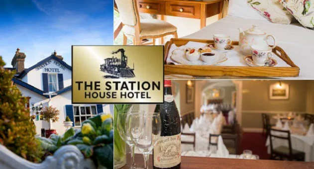 Enjoy a 1 night stay for 2 people with a 3 course evening meal, 1/2 bottle of wine, breakfast and late checkout at The Station House Hotel in Meath for €99