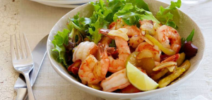 Garlic Prawns with Warm Cucumber and Ginger Salad Recipe by California Wines