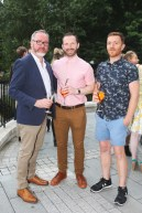 NO REPRO FEE 15/06/2017 La Dolce Vita at InterContinental Dublin Midsummer Party. Pictured last night were Nick Costello, Senan Healy and Stan Smith as over 300 invited guests gathered at the five-star InterContinental Dublin in Ballsbridge for a La Dolce Vita-themed midsummer garden party. Guests enjoyed a feast of Italian fare and sipped on refreshing Aperol Spritzes, Prosecco and Gunpowder Gin classic Negronis, as Swing band the Irish Rat Pack entertained the crowd with their jazzy big band numbers. A 1968 Alfa Romeo Spider even made an appearance to top off the La Dolce Vita experience! Photograph: Leon Farrell / Photocall Ireland