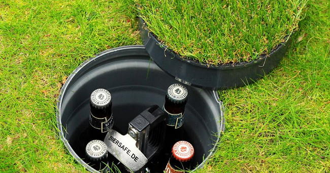 The Biersafe Underground Beer Cooler doesn't require ice or electricity to cool your drinks. To install it, you simply need to dig a three feet deep hole