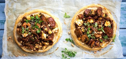 Mediterranean Prawn, Chorizo and Feta Tarts Recipe by Sharon Hearne-Smith Photo by Andrea Flanagan